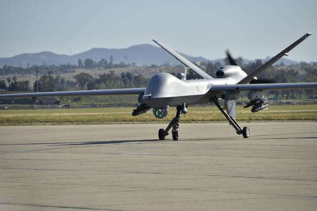 An MQ-9 Reaper remotely piloted aircraft assigned to the 163d Attack Wing taxis at March Air Reserve Base, California, on April 5, 2017. Airman Michelle Ulber/Air National Guard