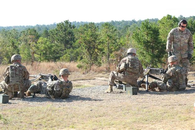Soldiers assigned to 5th Battalion, 1st Security Force Assistance Brigade fire .50 caliber machine guns at a firing range Nov. 2, 2017, at Fort Benning, Ga. (U.S. Army/Sgt. Arjenis Nunez)