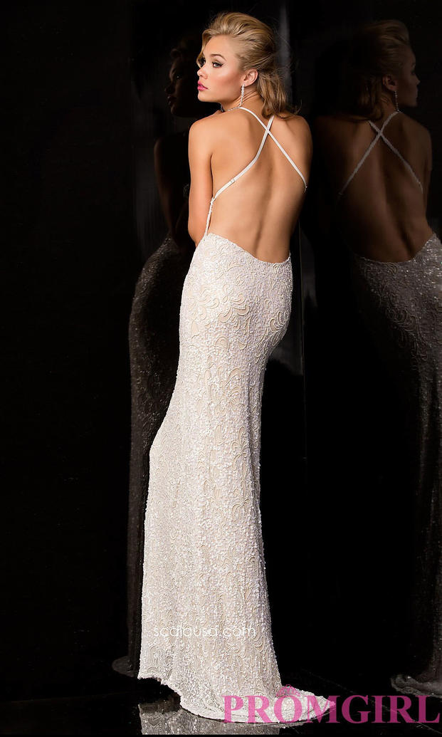 Sequin Gown with Open Back by Scala (PromGirl.com)