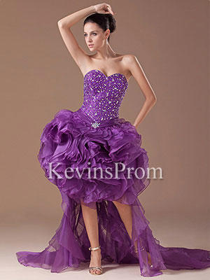 Dropped Waist Purple Long High Low Organza Ball Gown (Kevins Prom)