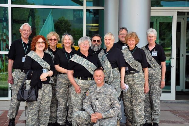 A group photo of GI Grannies and Gramps for Soldier Support volunteers with founder Chaplain Dell Harlow-Curtis. (Courtesy of GI Grannies and Gramps for Soldier Support)