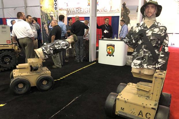 Robotic targets being used in a national Marine Corps study demonstrate their capabilities at the Modern Day Marine Expo at Quantico, Virginia. Hope Hodge Seck/Military.com