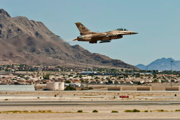 Air Force F-16 jet crashes at Nellis Air Force Base