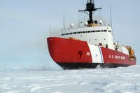 The Coast Guard Cutter Polar Star, with 75,000 horsepower and its 13,500-ton weight, is guided by its crew to break through Antarctic ice en route to the National Science Foundation's McMurdo Station, Jan. 15, 2017. (U.S. Coast Guard photo/David Mosley)