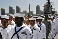 Service members recite the oath of citizenship during a naturalization ceremony on the flight deck of the USS Midway Museum. Three hundred service members from 51 countries became U.S. citizens during the ceremony, sponsored by U.S. Citizenship and Immigration Services. (US Navy photo/James Evans)