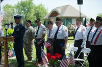 Col. Eric Laughton, commander of the 107th Medical Group, 107th Attack Wing, New York Air National Guard, Niagara Falls Air Reserve Station, addresses the crowd in attendance at the Memorial Day ceremony in Lewiston, N.Y., May 28, 2018. The ceremony is hosted annually by the Veterans of Foreign Wars, Down River Post #7487, honoring those who gave their lives while serving in the armed forces. (U.S. Air National Guard/Brandy Fowler)