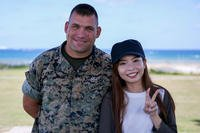 Marine Corps Gunnery Sgt. Scott Michael Dahn and Ching-Yi Sze pose for a photo in Okinawa, Japan, May 24, 2018. Dahn rescued Ching-Yi while she was scuba diving at Okinawa's Maeda Point, May 20, 2018. (Marine Corps photo/Andrew Neumann)