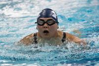 Master Chief Personnel Specialist Raina Hockenberry, from Kalihi, Hawaii, competes in the 50-meter breaststroke swimming competition at the 2018 Department of Defense Warrior Games at the U.S. Air Force Academy in Colorado Springs, Colo. (U.S. Navy photo/ Mass Communication Specialist 1st Class Marcus L. Stanley)