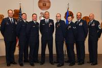 From left, Col. Julian C. Cheater, 432nd Wing/432nd Air Expeditionary Wing commander, retired Maj. Asa, former 432nd WG MQ-9 Reaper pilot; Capt. Evan, 432nd WG MQ-9 pilot; Capt. Abrham, 432nd WG MQ-9 pilot; 1st Lt. Eric, 432nd WG MQ-9 pilot and Senior Airman Jason, 432nd WG sensor operator pose for a photo July 11, 2018, at Creech Air Force Base, Nev. (U.S. Air Force/Senior Airman James Thompson)