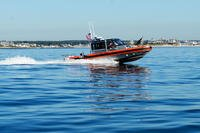 Coast Guard Station Point Judith conducts tactical boat training on the 29-foot response boat on Oct. 7, 2016, off the coast of Rhode Island. (U.S. Coast Guard photo/J. Groll)