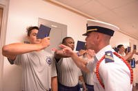Members of the Coast Guard Academy Class of 2022 participate in Day One, the start of Swab Summer and the beginning of their 200-week journey to becoming an officer at the Academy, July 2, 2018. (U.S. Coast Guard photo/Diana Sherbs)