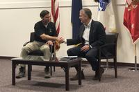 Army Secretary Mark Esper and Sen. Dan Sullivan meet at a press conference on Joint Base Elmendorf-Richardson, Alaska August 8th, 2018 (Military.com/Amy Bushatz)