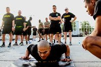 Senior leaders of the 101st Airborne Division (Air Assault) Resolute Support Sustainment Brigade participate in the Army Combat Fitness Test on Aug 14, 2018 at Bagram Airfield, Afghanistan. (US Army photo/Verniccia Ford)