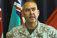 U.S. Marine Corps Col. James Schnelle, commanding officer of Marine Rotational Force-Darwin holds a press conference at Larrakeyah Defence Precinct, Darwin, Northern Territory, Australia, April 23, 2018. (U.S. Marine Corps photo/Andrew Piehler)