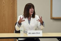 Mrs. Karen Pence, the Second Lady of the United States, speaks to military spouses July 25, 2018, on Grand Forks Air Force Base, North Dakota. (U.S. Air Force photo/Melody Wolff)