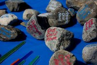 Rocks lie on a table during the Kids on Wheels Parade on Joint Base McGuire-Dix-Lakehurst, N.J., April 28, 2018. (U.S. Air Force/Ariel Owings)