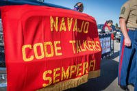 A sign is held at a celebration of the National Navajo Code Talkers Day in Window Rock, AZ., Aug 14, 2016. (U.S. Marine Corps photo/Melissa Marnell)