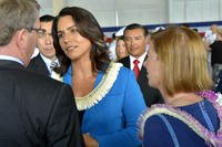 May 2015: U.S. Rep. Tulsi Gabbard of Hawaii's second district visits with Defense Secretary Ash Carter after change-of-command ceremonies for U.S. Pacific Command and U.S. Pacific Fleet in Honolulu. The Iraq War veteran has announced that she is running for president in 2020.(DoD photo)
