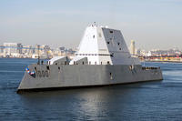 The guided-missile destroyer USS Zumwalt (DDG 1000) arrives at its new homeport in San Diego on Dec. 8, 2016. (U.S. Navy photo by Petty Officer 3rd Class Emiline L. M. Senn)