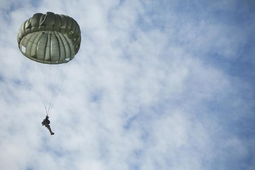 FILE PHOTO -- A Marine performs a static line jump at Stennis Space Center in Hancock County, Mississippi, Dec. 14, 2017. (U.S. Marine Corps/Lance Cpl. Tessa D. Watts)