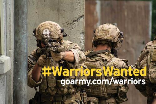 "The Army has launched a new marketing campaign called ""Warriors Wanted,"" featuring short, digital ads on social media and cable TV aimed at Generation Z. Army image"
