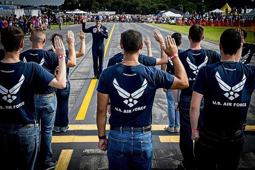 New Airmen take the oath of enlistment at an air show in Lakeland, Fla., in 2015. (Courtesy photo)
